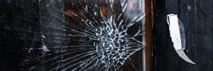 Broken glass in wooden frame