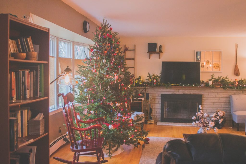 House lounge with Christmas decorations